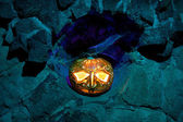 Jack O'lantern in a stone niche — Stock Photo