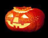 Halloween pumpkin on black background — Stock Photo