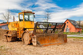 Heavy dirt roller on a rural construction site — Foto Stock