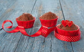Decorated chocolate muffins — Stock Photo