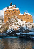 Kriebstein castle under snow in Saxony — Stock Photo