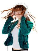 Young woman with earphones — Stock Photo