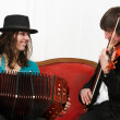 Tango musicians with bandoneon and violin — Stock Photo
