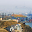 Container terminal at Vladivostok Cargo port, Golden Horn bay — Stock Photo