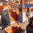 Munich aereal view on Old Town Hall — Stock Photo