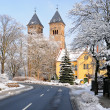 Bad Klosterlausnitz church under snow — Stock Photo