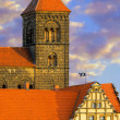 Church tower of Quedlinburg Castle complex, Quedl — Stock Photo