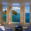 Three ay windows overlooking Mediterranian Seashore — Stock Photo