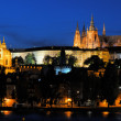 Evening view of Prague Castle and Charles Bridge — Stock Photo #33811959