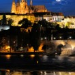 Evening view of Prague Castle and Charles Bridge from Novotneho — Stock Photo #33812011