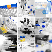 Microscopes in modern laboratory, collage — Stock Photo