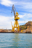 Cranes in dry dock at Valletta harbour, Malta — Stock Photo
