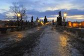 Prague, Charles bridge early morning — Stock Photo