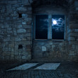 Old empty castle room, moonlight — Stock Photo