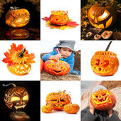 Halloween pumpkins, collage — Stock Photo