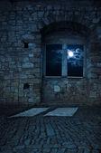 Old empty castle room, moonlight — Stock Photo