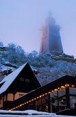 Kyffhauser Monument and illuminated restaurant — Stock Photo