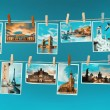Pictures of europelandmarks pinned on ropes, toned image — Stock Photo #36315457