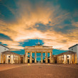 图库照片: Brandenburg Gate at sunset, toned image