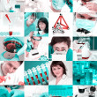 Stock Photo: Scientists in laboratory, collage