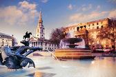 Fountain on Trafalgar Square, toned image — Stock Photo