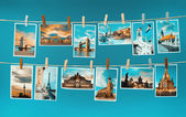Pictures of european landmarks pinned on ropes, toned image — Stock Photo