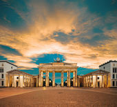 Brandenburg Gate at sunset, toned image — Stock Photo