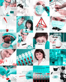 Scientists in laboratory, collage — 图库照片