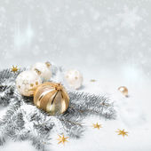 Golden Christmas decorations, text space — Stock Photo