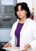 Scientist with histological samples — Stock Photo