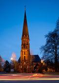 Local church at night — Foto Stock