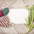 Easter decorations around empty card — Stock Photo