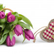 Fresh tulips and wooden heart, space — Stock Photo #39683263