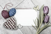 Easter decorations around empty card — Foto Stock