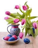 Blue Easter decorations on white background — Foto Stock