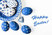 Easter eggs colored white and blue — Stock Photo