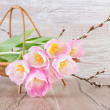 Spring tulips in the basket — Stock Photo