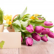 Spring flowers and an empty greeting card — Stock Photo