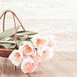 Creamy tulips in the basket — Stock Photo #41454353