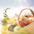 Yellow and blue Easter background, space — Stock Photo