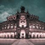 Dresden Opera Theatre at night — Stock Photo