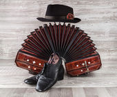 Bandoneon, tango dance shoes and male hat — Foto Stock