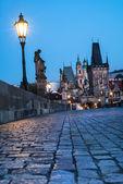 Prague, night view over Charles Bridge — Stock Photo