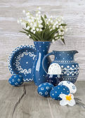 Blue-white Easter decorations, space — Stock Photo
