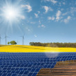 Solar power cells, rapeseed field and windmills — Stock Photo