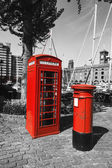 London, phone booth and a post box — Stock Photo