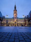 Town Hall in Hamburg at night — Foto de Stock