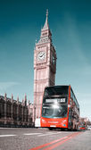 London bus in front of Big Ben — Stock Photo
