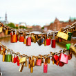 Locks on  bridge in Hamburg — Stock Photo #48942389
