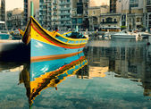 Maltese boat in St. Julian's Bay, Malta — Stock Photo